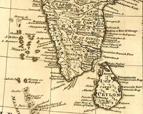 Map of south india and laccadives, by Bowen 1747