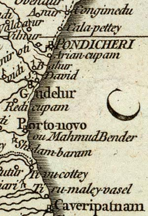 french map showing porto novo in tamil nadu also named 'mahmud bender'