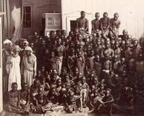 Slaves for sale in an Islamic slave market
